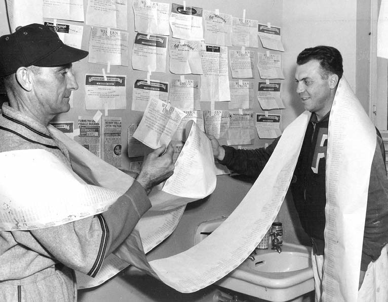 "Rainiers manager (left), with team trainer Lewis ""Doc"" Richards in 1941, testified on behalf of the Rainiers, affirming their claim that Al Niemiec was too old to play second base effectively."