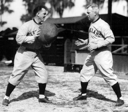 Speaker (right), shown tossing a medicine ball with O'Neill, had a special ability to lead and motivate his men while playing alongside them.