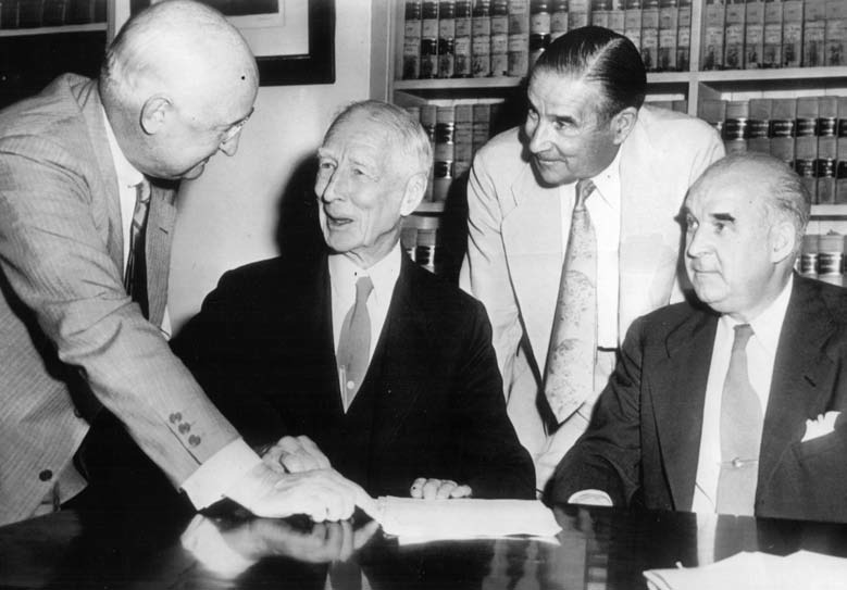 took out a loan to buy the shares held by Connie Mack Jr., Katherine Mack and the Shibe family, ending the long struggle over control of the A's on August 28, 1950. The loan left the club heavily in debt.