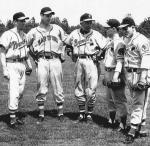 At Waycross with Billy Southworth, 1953. Jean-Marc Blais, Georges Maranda, Southworth, Claude Senechal, Jean-Guy Hebert. Signed by the Braves in 1951, Maranda broke into the major leagues with the San Francisco Giants in 1960.