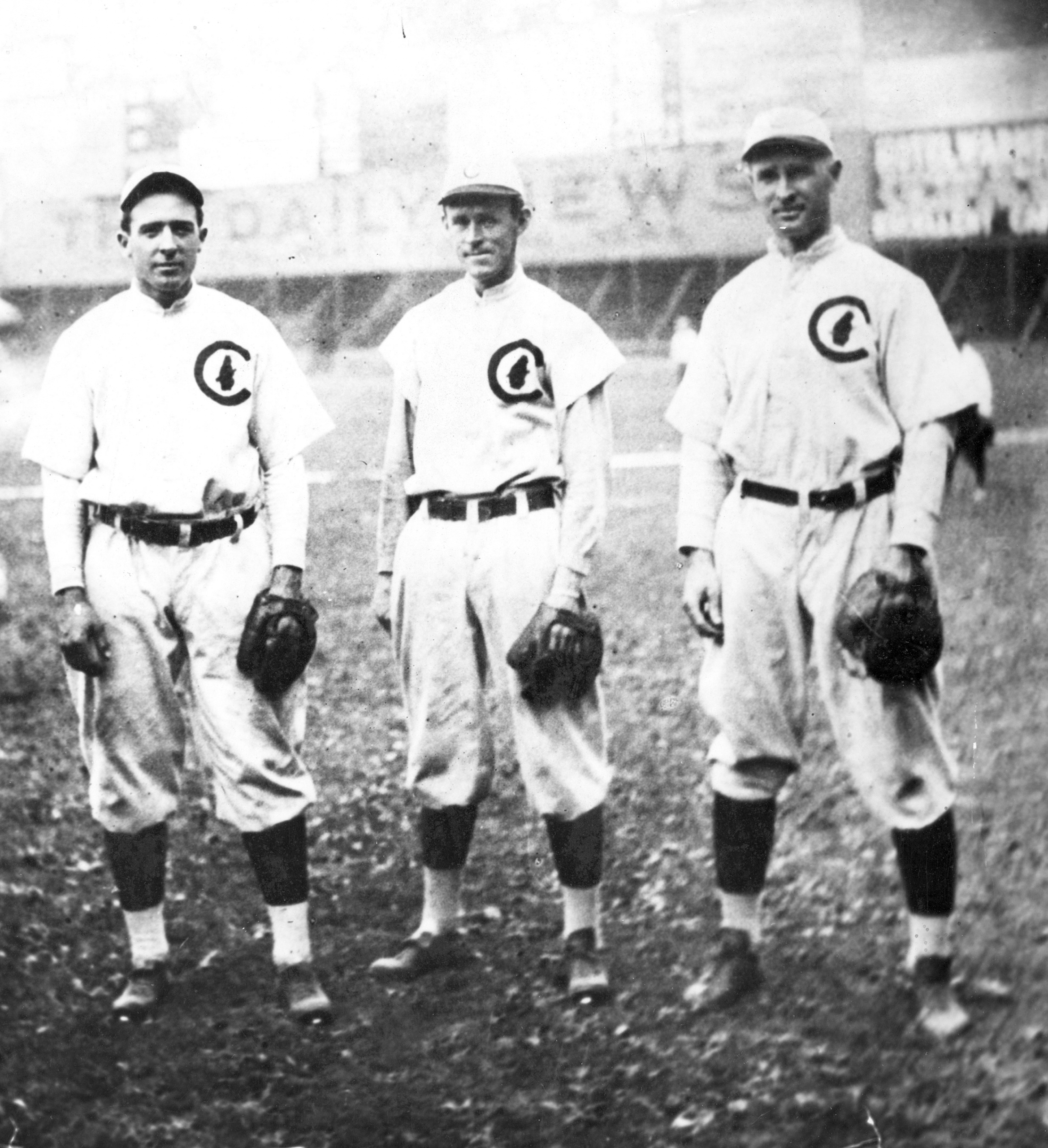 Joe Tinker, Johnny Evers, Frank Chance: the defensive heart of the 1906–10 Cubs.
