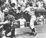 The brawl spreads as Angels catcher Al Evans winds up for a swing at umpire Joe Iacovetti.