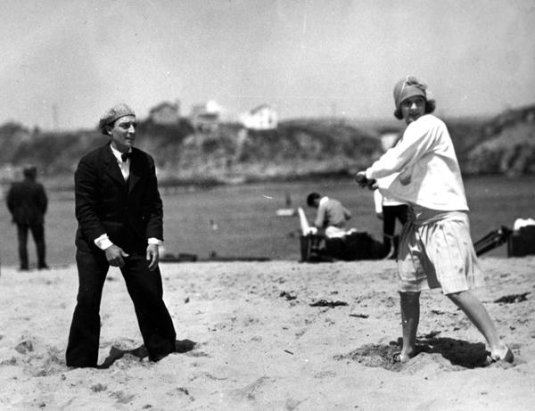 Buster Keaton and wife Natalie Talmadge take a baseball break.
