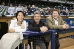 shown with Ned Colletti and Logan White, would like to see more women and minorities enter baseball's ranks.