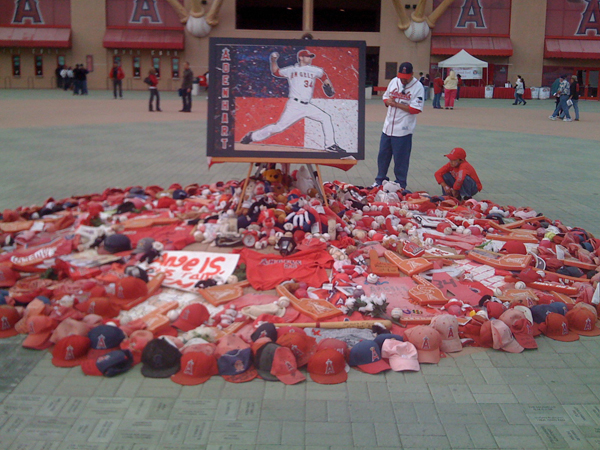 Fans left mementos at the ballpark's entry during the 2009 season following the pitcher's death in April.