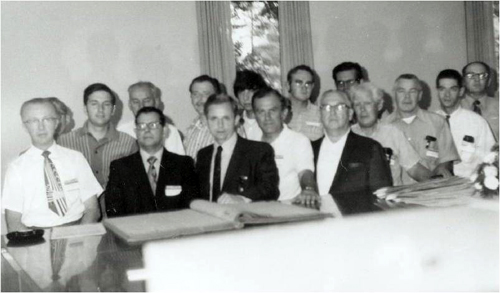 Participants at SABR's organizational meeting on August 10, 1971, at the National Baseball Library in Cooperstown, New York. Back row, from left: Neil Campbell (visitor), Bill Haber, Keith Sutton, Dan Dischley, Dan Ginsburg, Tom Hufford, Ray Nemec; front row: Cliff Kachline, Ray Gonzalez, Bill Gustafson, Joe Simenic, Paul Frisz, Tom Shea, Bob McConnell, John Pardon, Bob Davids. (Pat McDonough is the only founding member not pictured above.)