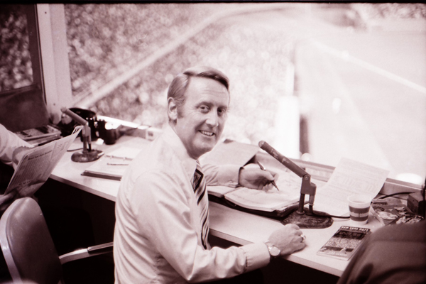 The Dodgers' most valuable lefty keeps score as he broadcasts a Dodgers-Mets game at Dodger Stadium in the 1960s.