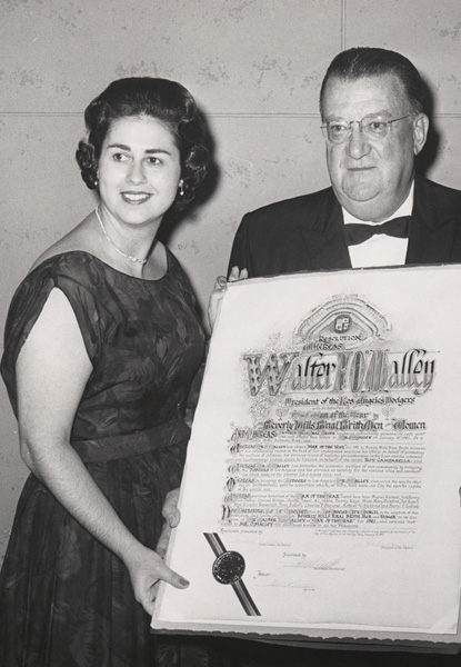 Los Angeles City Councilwoman (left) was a strong supporter throughout owner Walter O'Malley's maneuvering to bring the team to Los Angeles and build Dodger Stadium.