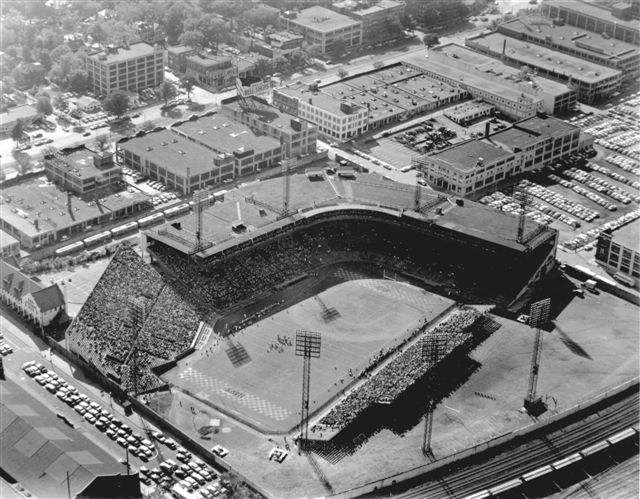 By the time of this photo, the left-field pavilion has already been demolished and baseball's perfect ballpark is playing host to football.