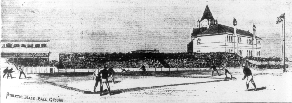 1883 ballgame at the new 27th and Jefferson Street field, looking north towards Jefferson street. Home plate is at 27th Street. The big building on the right is the Mission Church at 26th and Jefferson.