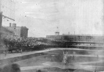 The photo shows the edge of the grandstand and bleachers along the third base line where the collapse would take place in 1903.