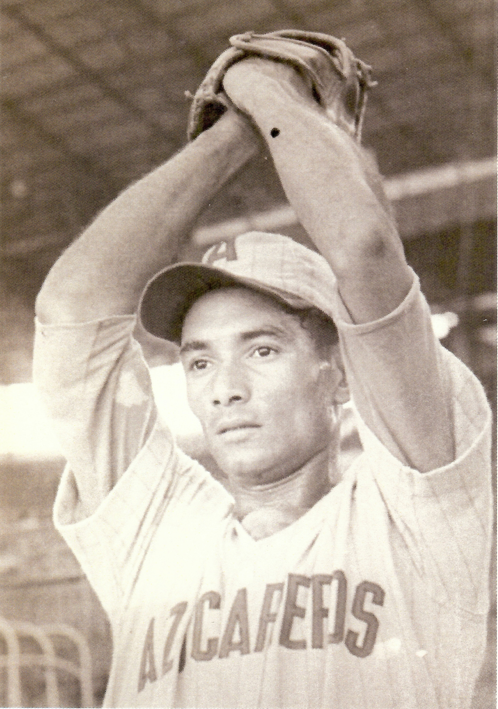 in the uniform of the 1968–69 National Series champion Azucareros ball club, three seasons after his miraculous three-game pitching string.