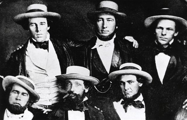 Alexander Cartwright (middle, rear) with five others. They traditionally are identified as fellow Knickerbockers, but like so much surrounding Cartwright and baseball, this identification is open to question.