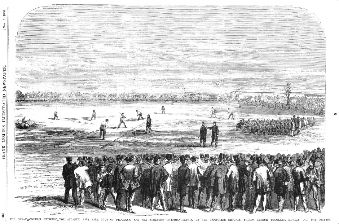 An illustration of the match between the Atlantics of Brooklyn and Athletics of Philadelphia at the Capitoline grounds in Brooklyn, appearing in Frank Leslie's Illustrated Newspaper, November 3, 1866.
