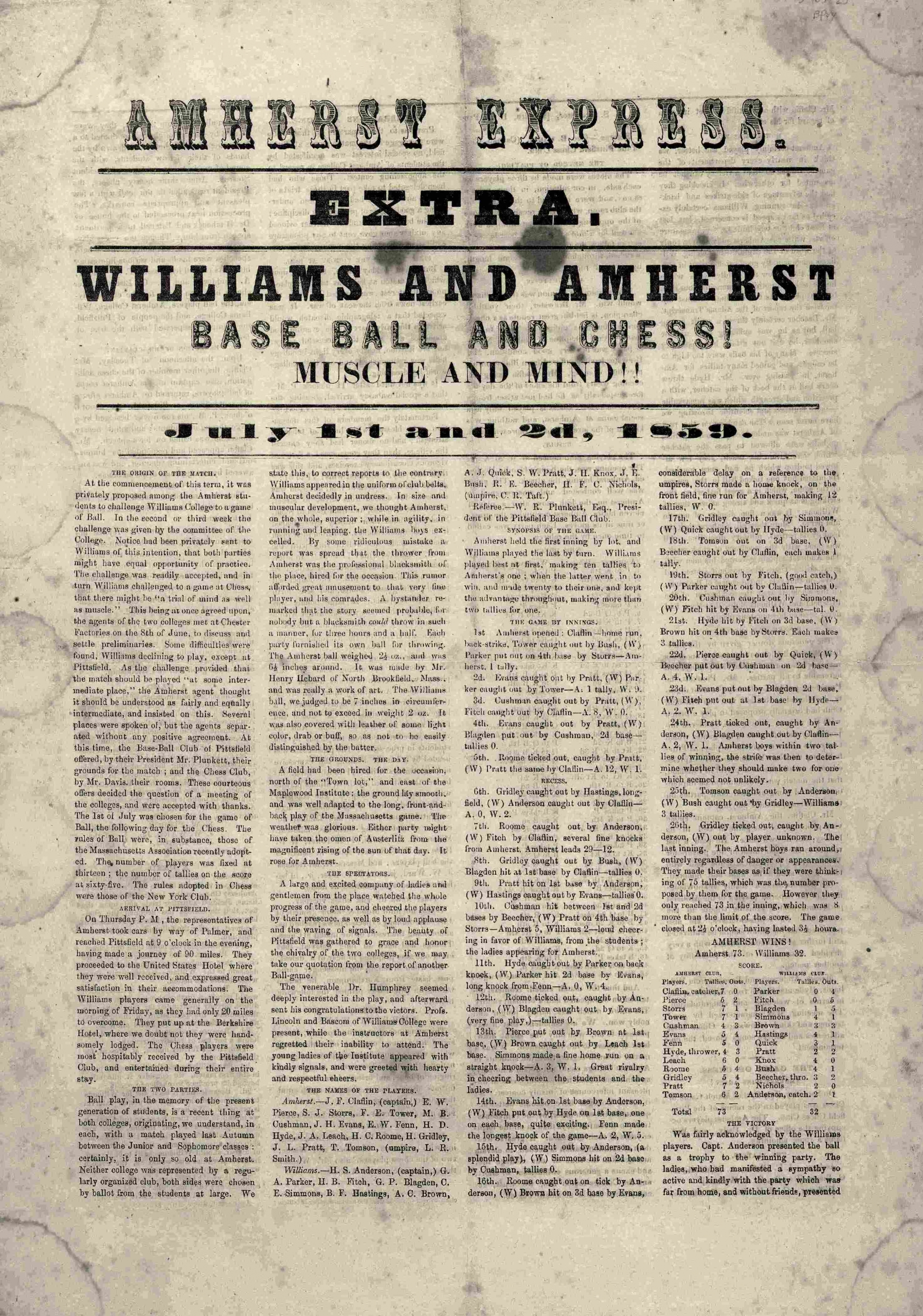 The first intercollegiate baseball match between Amherst College and Williams College shares a headline with chess.