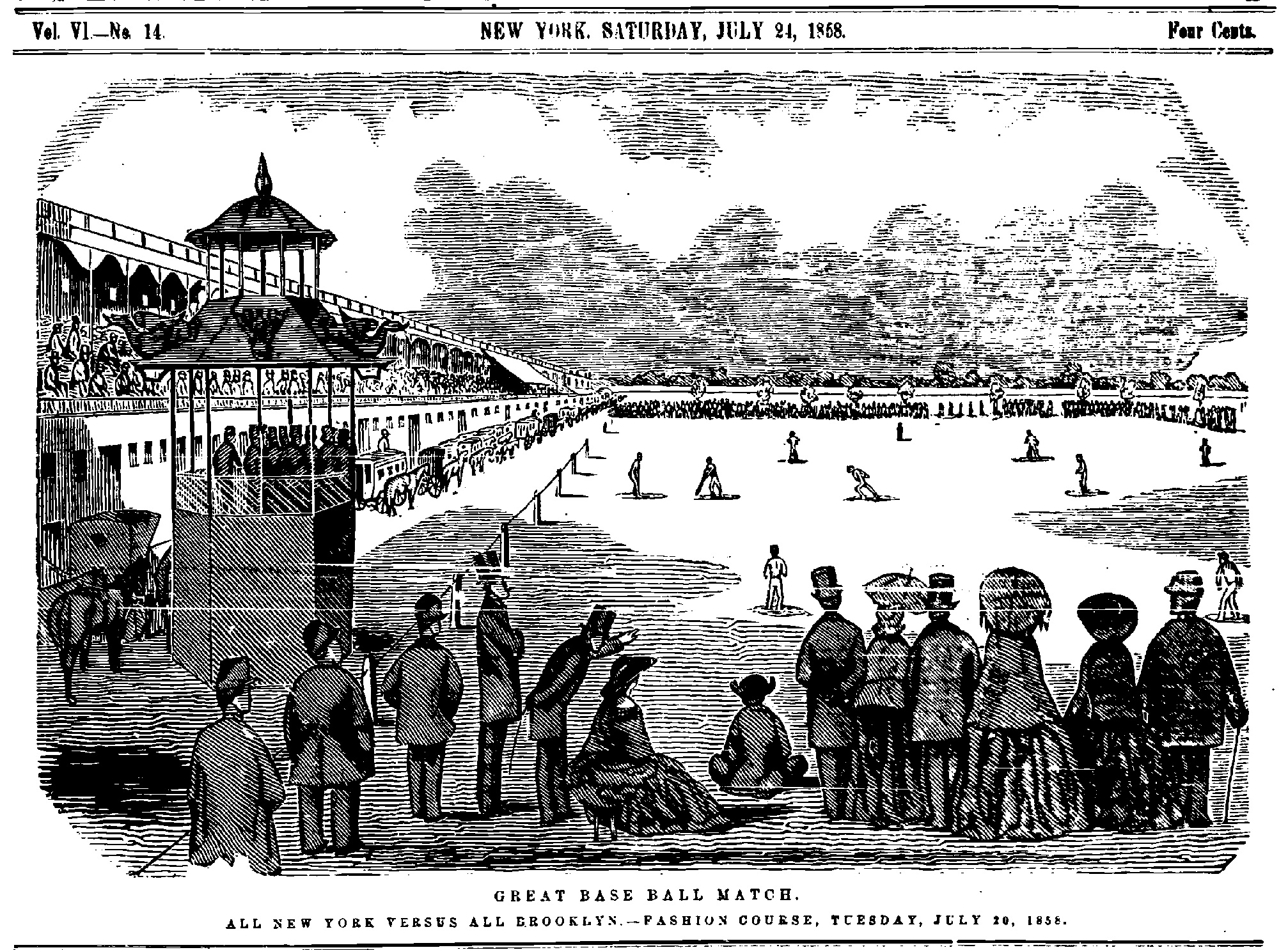 Game action from the July 20, 1858 match between the Brooklyn all-stars and New York all-stars.