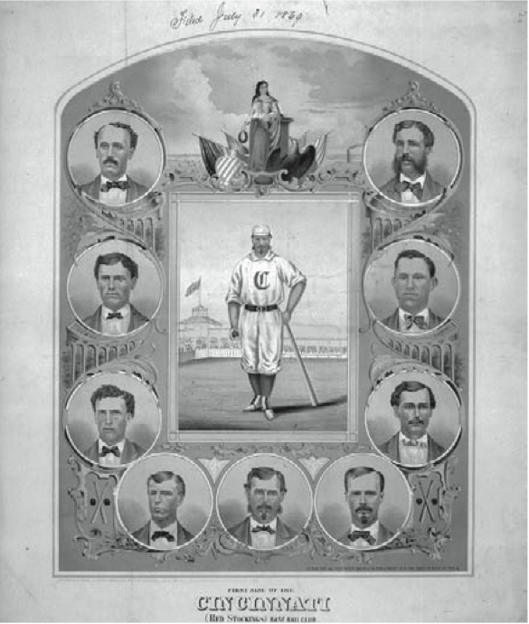 Clockwise from upper right: Asa Brainard, Charlie Sweasy, Andy Leonard, Charles Gould, Harry Wright, Doug Allison, George Wright, Cal McVey, Fred Waterman.