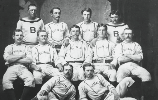 International League champions. Back row: Tom Dolan, Dick Allen, Bill McGunnigle, Pud Galvin. Middle: Bill Crowley, Dave Eggler, Steve Libby, Chick Fulmer, Denny Mack. Front row: Davy Force, Trick McSorley.