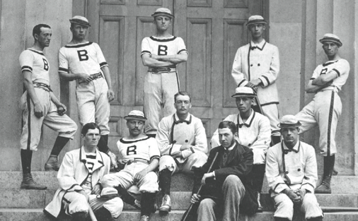 William Edward White's 1879 appearance for Providence made him the first black to play in a major league game. He played on Brown University's 1879 championship baseball team. White is sitting directly behind the man in the suit holding the bat.