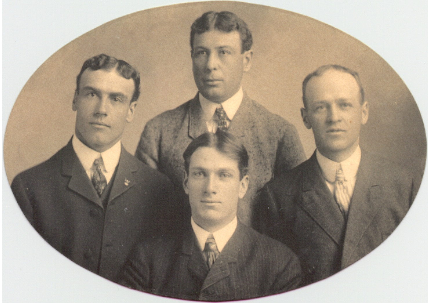 "A studio portrait of four members of the 1905 AL Champion Philadelphia Athletics. Clockwise from top: Ossee Schrecongost, Harry Barton, Briscoe Lord, and Michael ""Doc"" Powers."