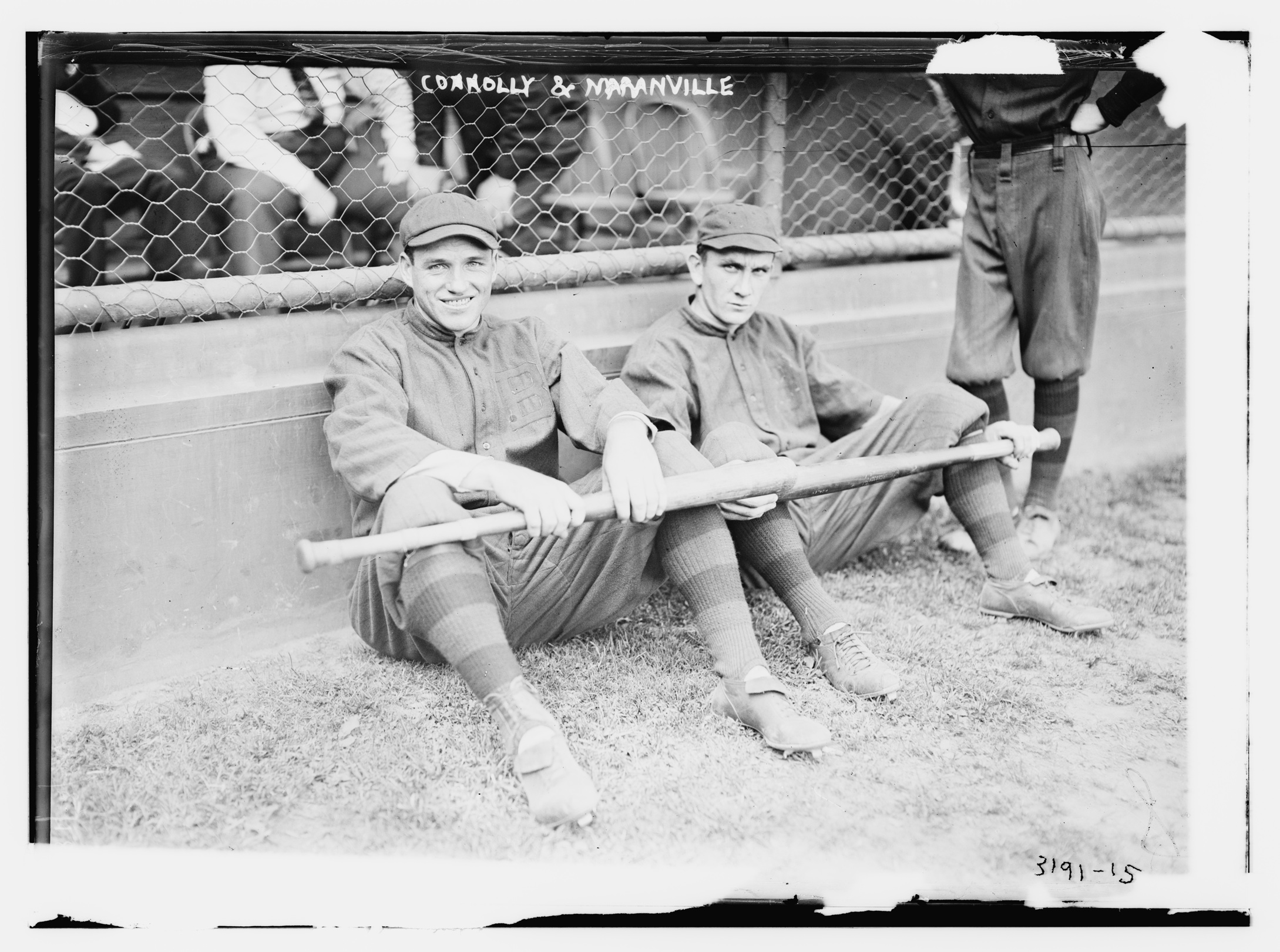 Left-handed hitter, seen at left with Hall of Fame shortstop Rabbit Maranville, was the only truly productive outfielder for the 1914 Boston Braves. He led the team in home runs and had the team's highest on-base and slugging percentages.
