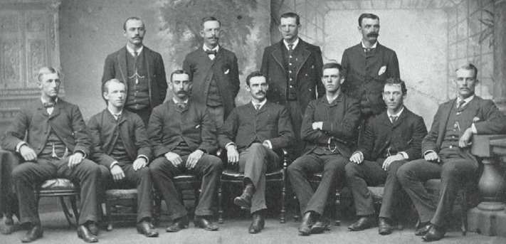 Standing: Joe Hornung, Ezra Sutton, Sam Wise, Jack Burdock. Seated: Charlie Buffinton, Paul Radford, Jim Whitney, John Morrill, Mike Hines, Mert Hackett, Edgar Smith.