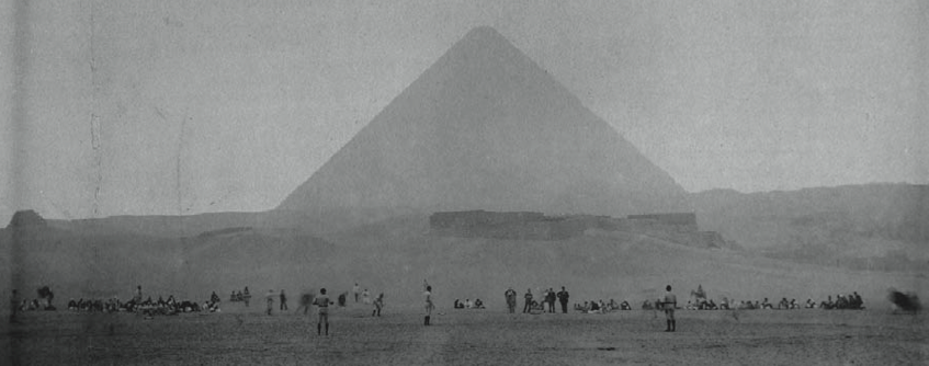 A scene from February 9, 1889, with a pyramid in the background.
