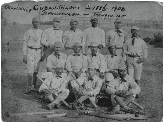 Back: possibly Andrew Randolph, Harry Johnson, Ben Holmes, Shep Trusty, Art Thomas, possibly G. Day. Middle: Billy Whyte, Ben Boyd, George Parago, Clarence Williams. Front: possibly G. Shadney, possibly Milton Dabney, possibly S. Epps.