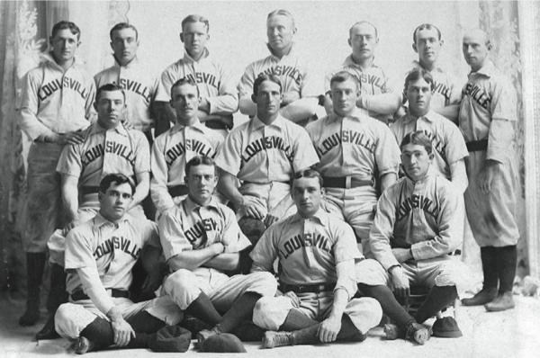 victims of the worst drubbing in baseball history. Hall of Famer Fred Clarke is pictured in the center of the middle row and Honus Wagner is to his left.