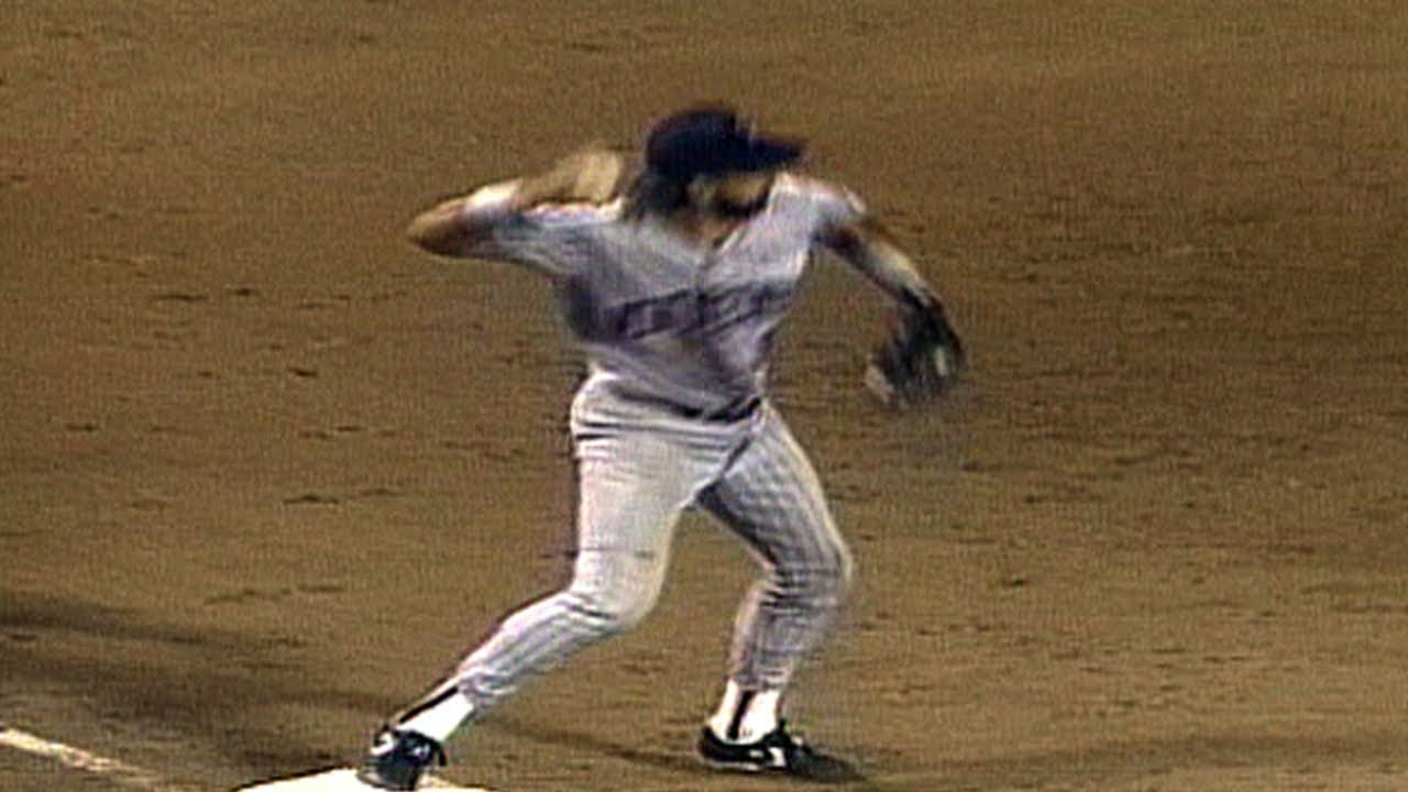 Twins third baseman starts the first of Minnesota's two triple plays in a game against Boston on July 17, 1990.