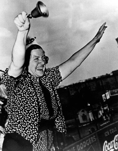 Hilda Chester and her famous cowbell (NATIONAL BASEBALL HALL OF FAME LIBRARY)