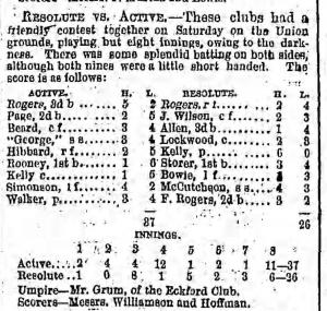 Brooklyn Eagle box score, June 26, 1865