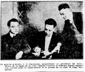 Culver signing his 1921 contract with the St. Henri semi-pro team.