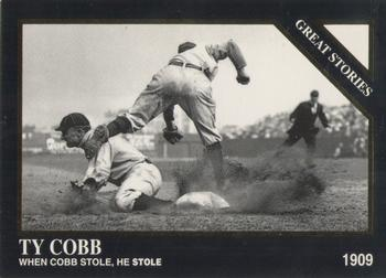 Ty Cob sliding into third base, by Charles Conlon
