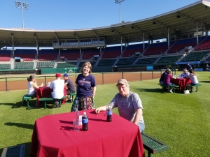 Joanne Hulbert and Bill Nowlin, social distancing at Pawtucket's McCoy Stadium in June 2020